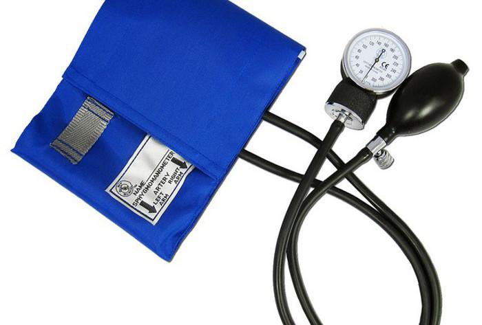 A blood pressure monitoring cuff.
