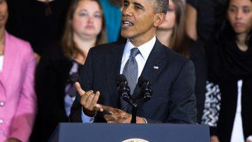 Obama giving a speech.