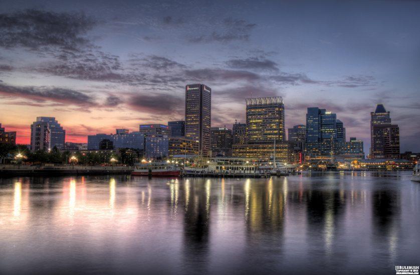 The skyline of Baltimore, Maryland.
