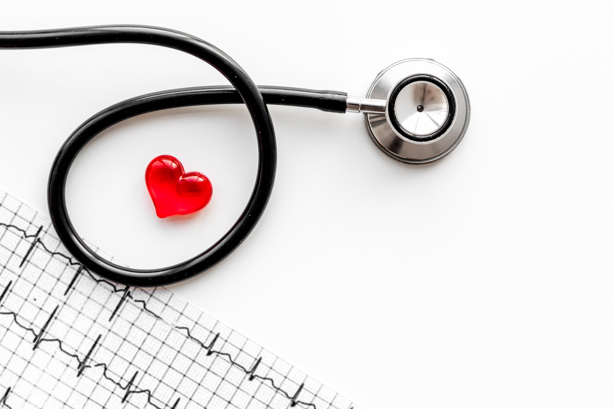 Heart sign, cardiogram and stethoscope