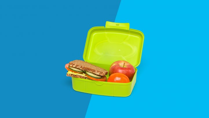 A lunch box packed with healthy food for back to school