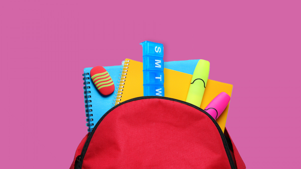 A backpack filled with supplies, ready for a child to take to the school nurse.