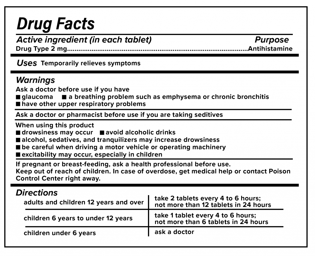 Over-The-Counter Drug Facts example