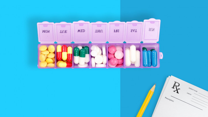 A prescription pill organizer used for medication management