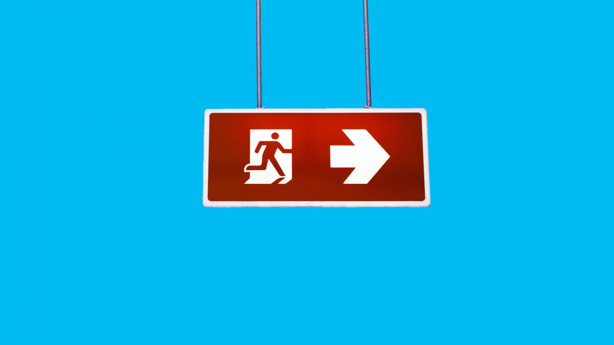 An exit sign used as part of an emergency preparedness plan