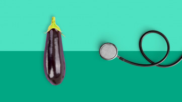An eggplant and a stethoscope symbolize erectile dysfunction tests