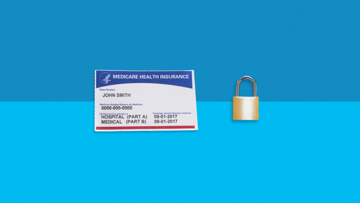 An image of a Medicare card and a lock symbolize Medicare fraud