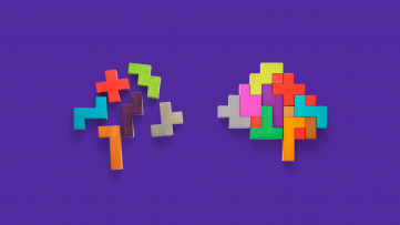 Two images of brains made of puzzle pieces symbolize ADHD facts and ADHD myths