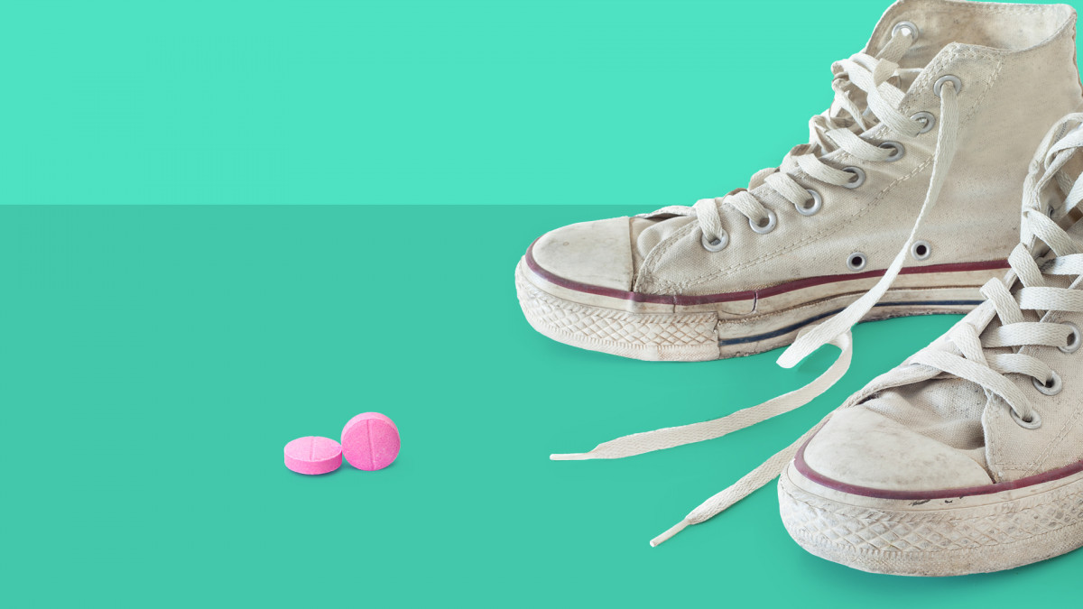 Sneakers and pills represent Adderall abuse on college campuses