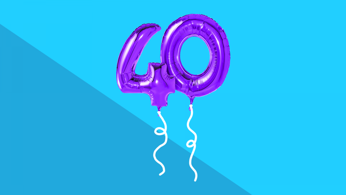 Balloons in the shape of 40 represent over 40s health checks