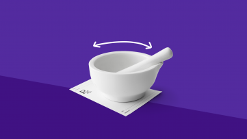 A mortar and pestle represent the duties of a pharmacy technician