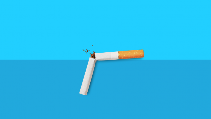 A broken cigarette represents taking Wellbutrin to quit smoking