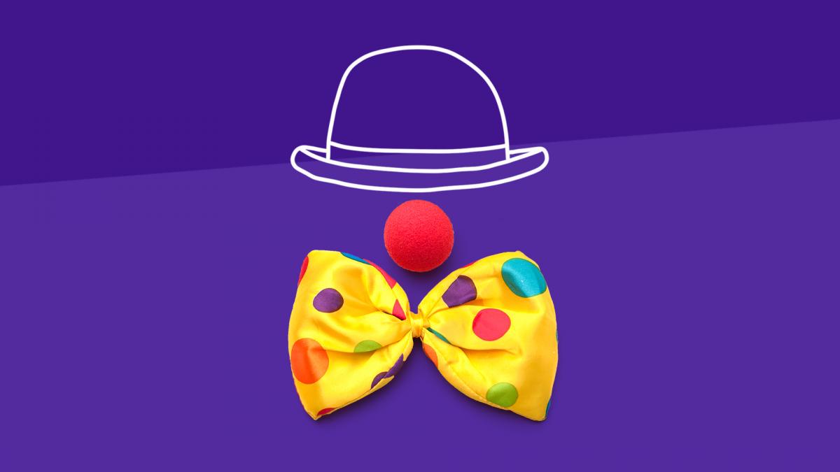 A clown represents last-minute Halloween costumes