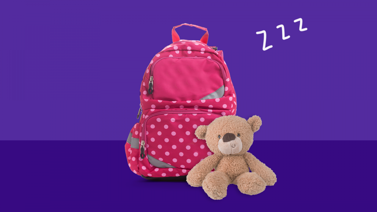 A backpack and teddy bear represent sleepovers for children with juvenile diabetes