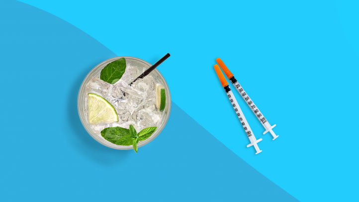 An image of alcohol and diabetes medication