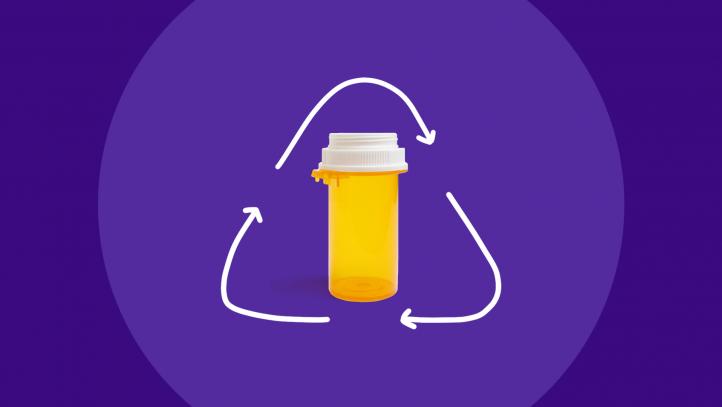 Recycle used pill bottles - prescription bottle