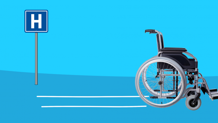 A wheelchair represents discharged from the hospital