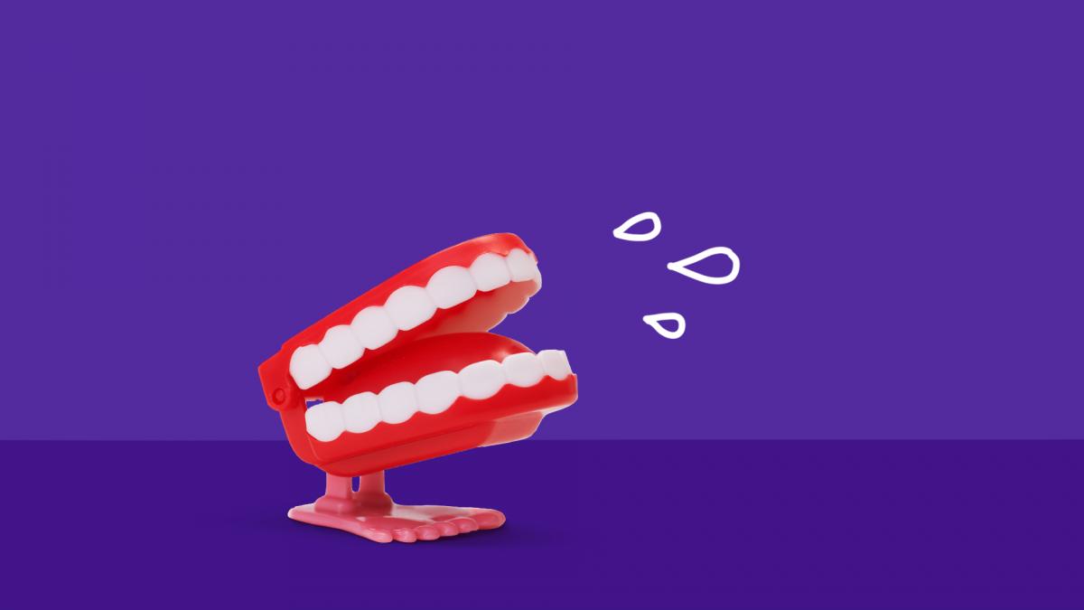 Saliva Health -- fake teeth