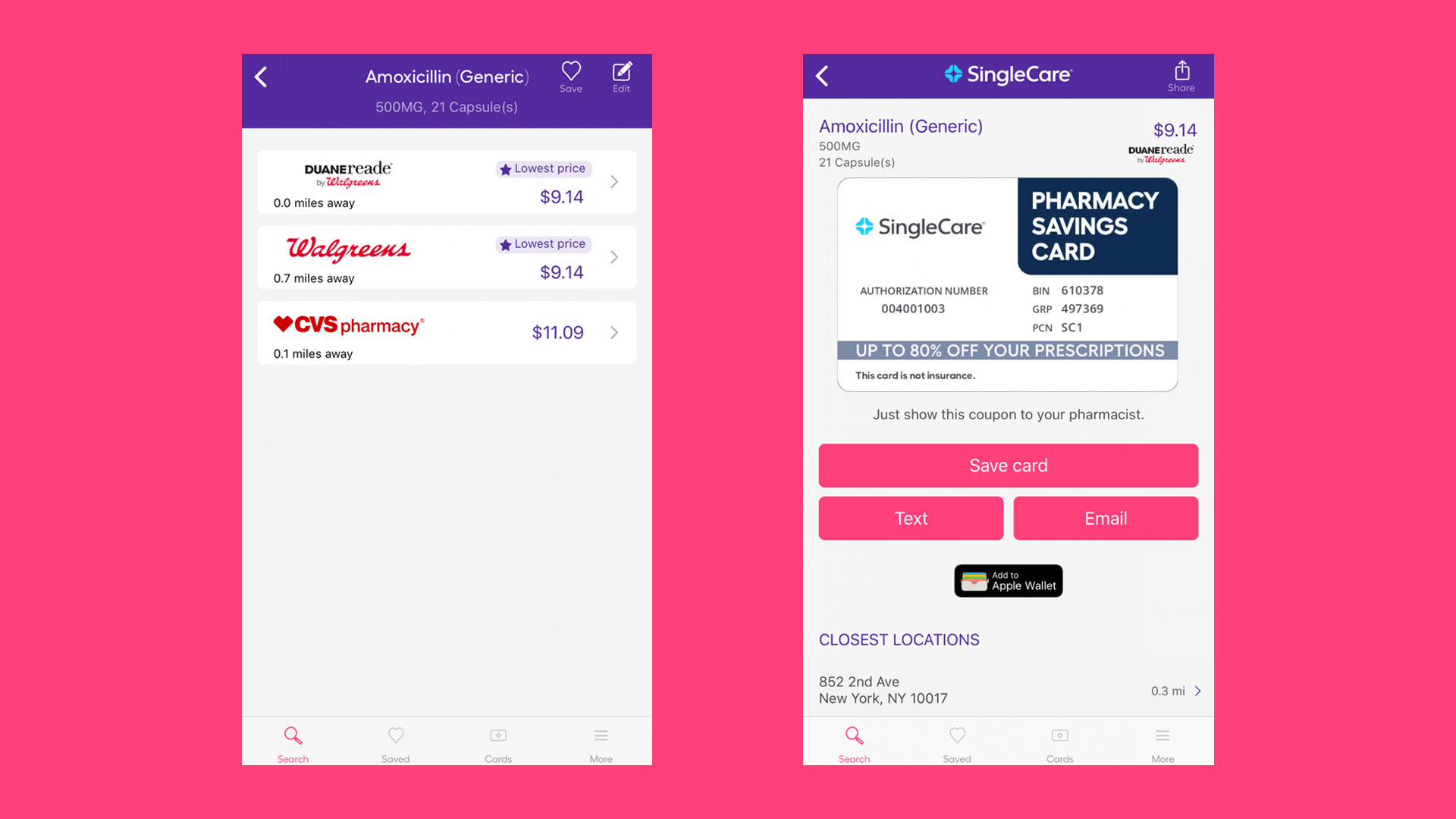 Comparing the best price for Amoxicillin on the SingleCare app