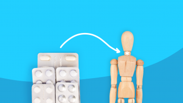 Pills and a model of a person represent living with hypothyroidism