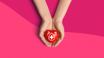Can I donate blood? A heart in hands represents the answer.
