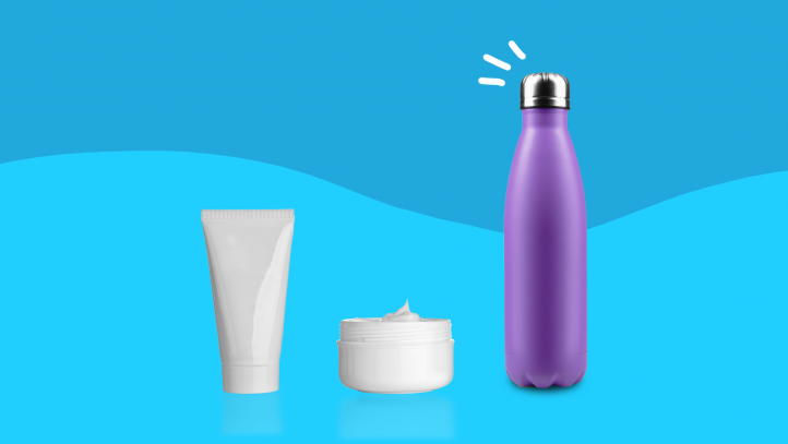 Lotion and a water bottle represent medications that cause dry skin