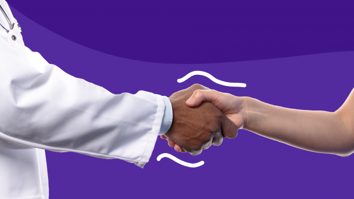 A pharmacist shaking hands represents get to know your customers day