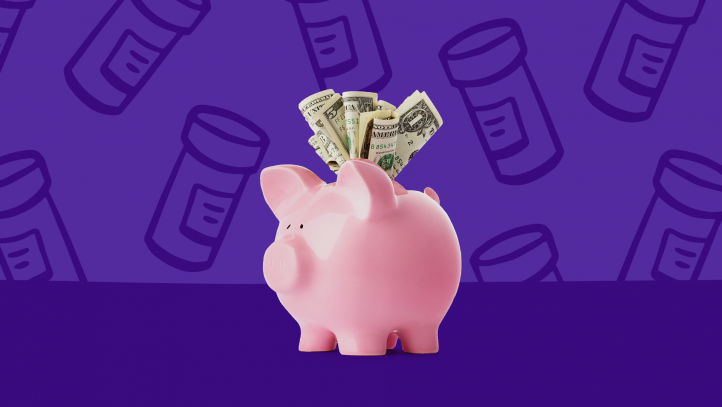A piggy bank packed with money symbolizes the top prescription savings of the year