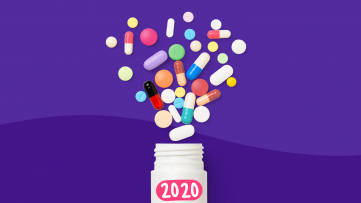 A bottle spilling out pills represents new drugs in 2020