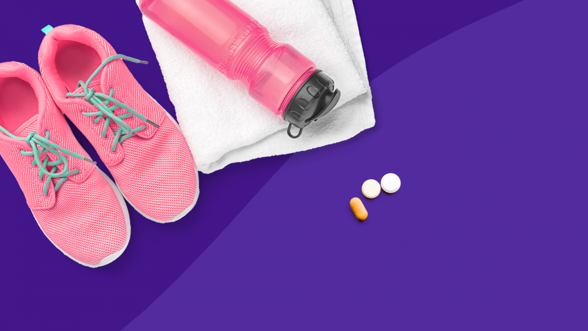 Hypothyroidism and exercise - running shoes and water bottle