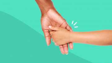 An adult holding hands with a child represents parents with mental illness
