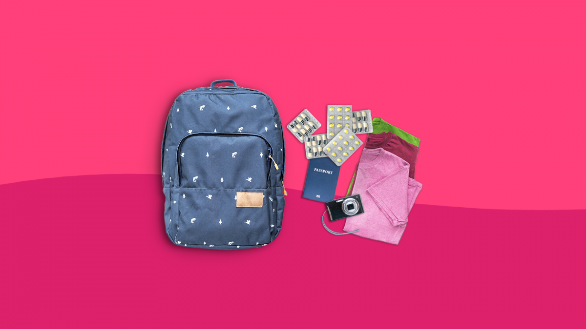 A backpack with clothes represents traveling with medication