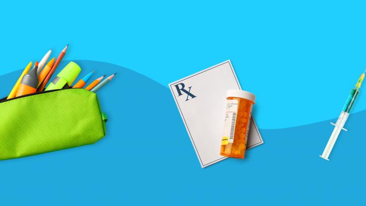 pencils, prescription pad, vaccine --tips for healthy back to school
