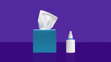 A box of tissues and nasal spray represents rebound congestion