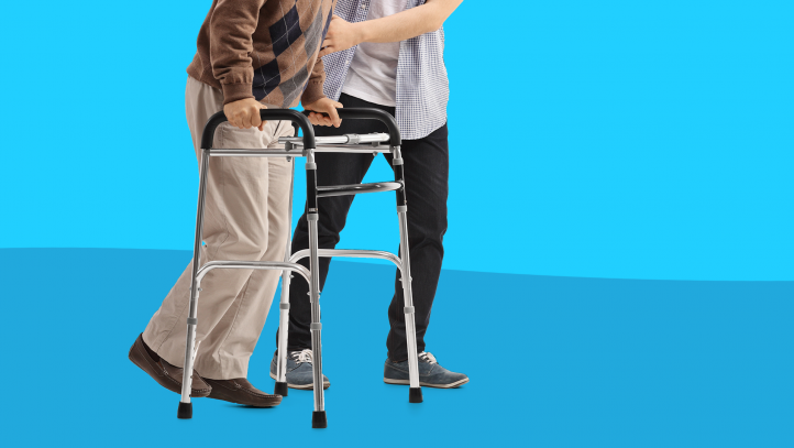 How to avoid caregiver burnout - man using walker with help