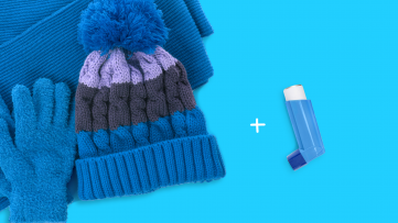 A hat and inhaler represent cold-induced asthma