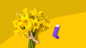 A bouquet of flowers and an inhaler represent asthma attack triggers