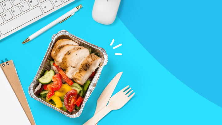 An image of a packed lunch represents how to stay healthy at work