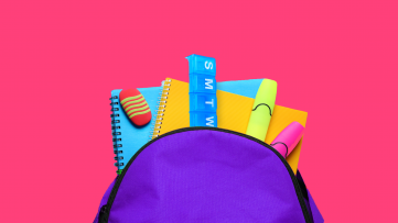 A backpack filled with supplies, ready for a child to take to school nurses.
