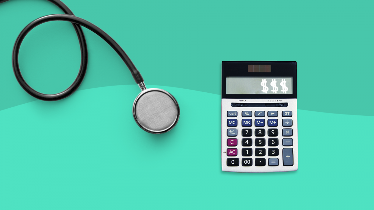 Copay vs. deductible - stethoscope and calculator