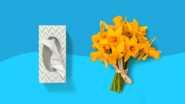 A box of tissues and bouquet of flowers represent seasonal allergies treatment