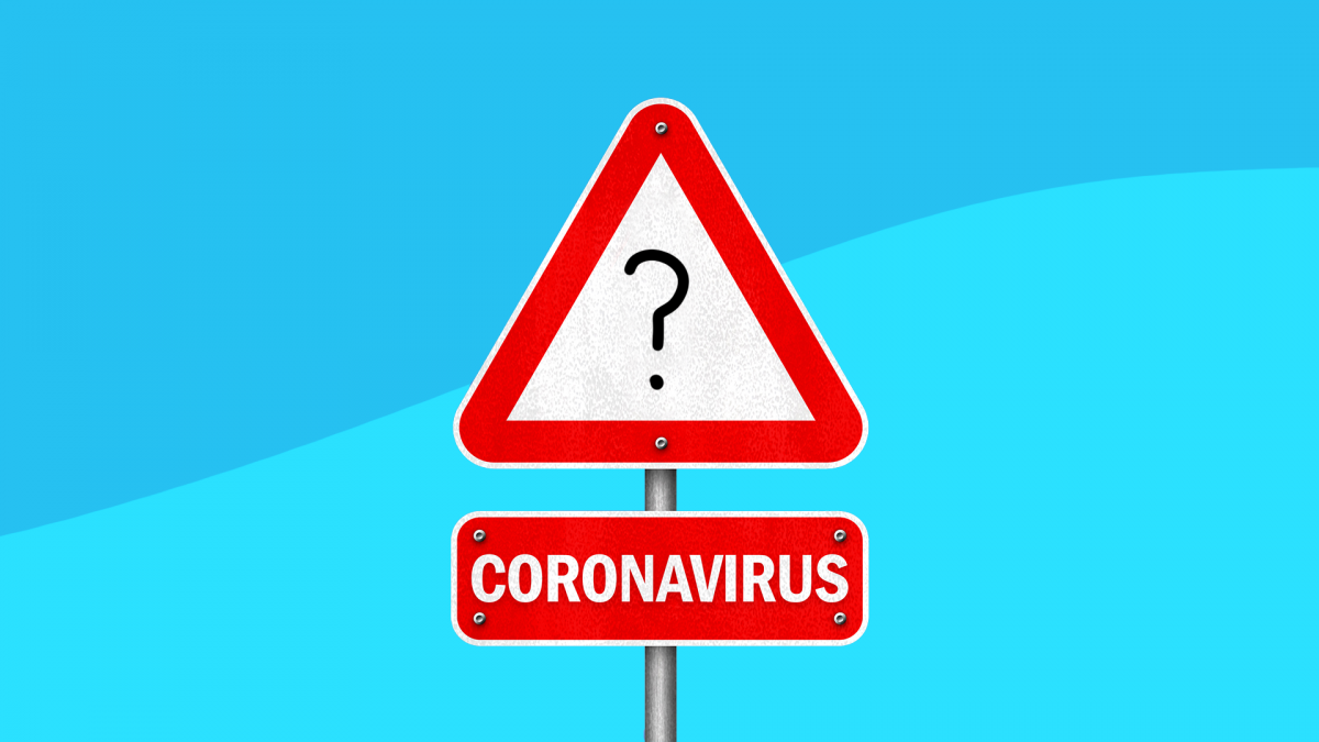 A sign with coronavirus and a question mark