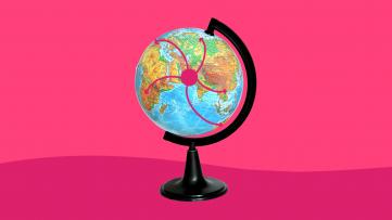 A globe symbolizes a pandemic