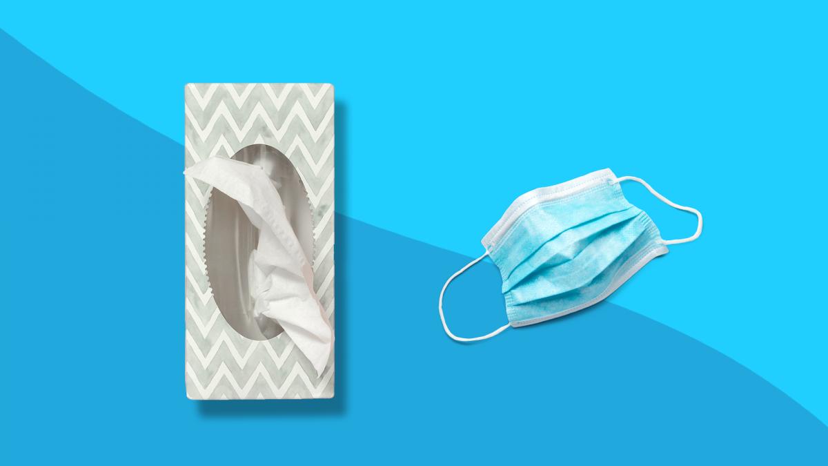 Tissues and a mask represent allergy symptoms vs coronavirus symptoms