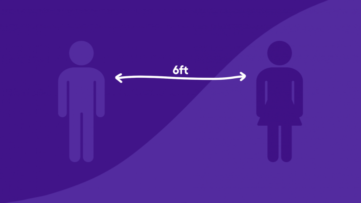 An illustration of two adults standing 6 feet apart for social distancing