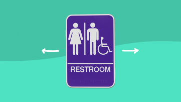 A sign for the restroom for people with recurrent UTIs
