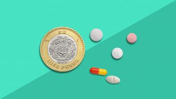 Prescriptions in Mexico - coin and pills
