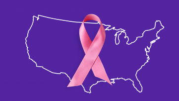 A pink ribbon represents breast cancer treatment cost in the U.S.