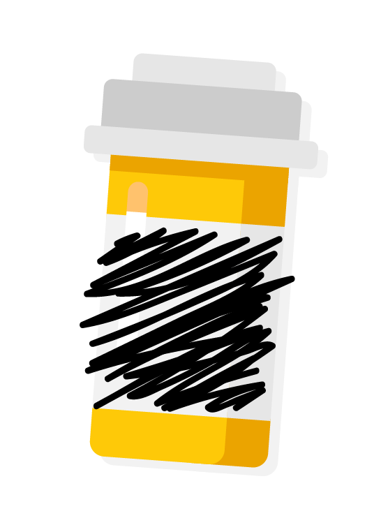 pill bottle with info scratched out