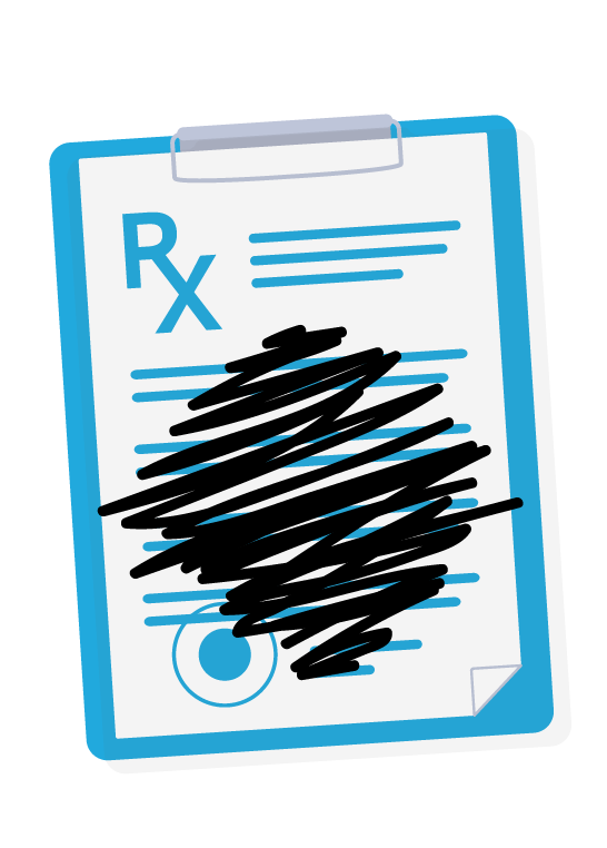 prescription sheet with info scratched out
